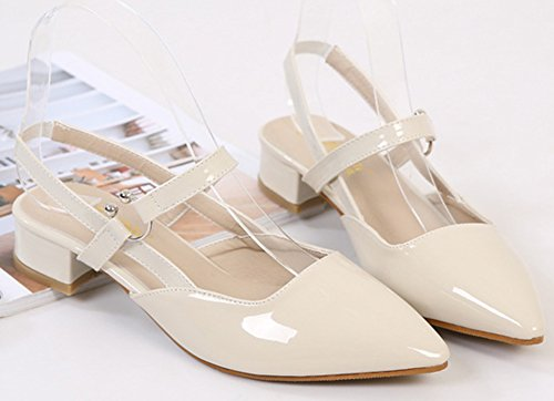 Shoes Sexy apricot Slingback Heel Chunky Aisun Low Closed Pointed Toe Dressy Sandals Elastic Women's RWw7q54