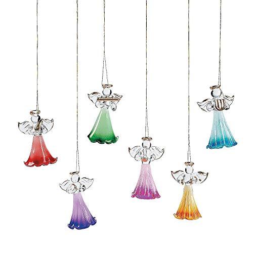 Fun Express Colored Glass Angel Ornaments (1 Dozen) for Christmas - Home Decor - Ornaments - Religious - Christmas