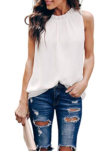 HOTAPEI Womens Plus Size Summer Casual Sleeveless Ruffle Trim High Neck Double Lined Chiffon Loose Fit Pleated Tank Tops Blouses Cami Shirts White XXL