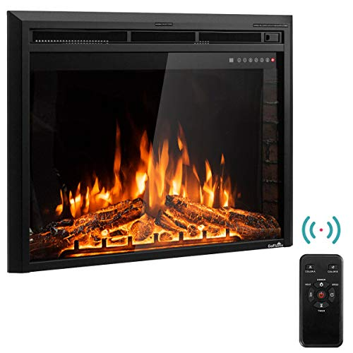 """Tangkula Electric Fireplace Insert 36"""", Smokeless 750W-1500W Electric Stove Heater with Remote Control and Adjustable Time Setting for Home Use, Colorful Flame Option Wall Mounted Heater, Black"""