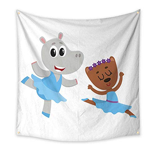 Feminine Tapestry Hippo and Bear Puppy and Kitten Characters Dancing Ballet Together Home Decorations 32W x 32L Inch -