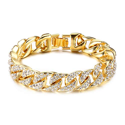 Fusamk Hip Hop Plated 18K Gold Stainless Steel 14MM Wide Cuban Chain Bracelet Crystal Link Bracelet,8 1/2 -