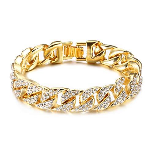 Fusamk Hip Hop Plated 18K Gold Stainless Steel 14MM Wide Cuban Chain Bracelet Crystal Link Bracelet,8 1/2 Wrist(Gold)