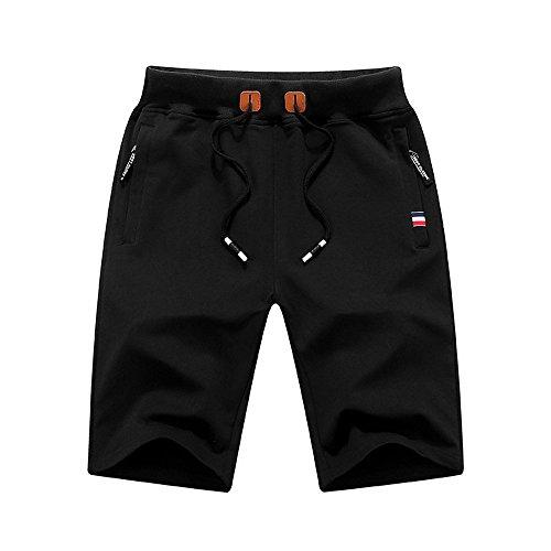 - KLGDA Men's Casual Classic Fit Shorts Daily Wear Drawstring Summer Beach Pants with Elastic Waist Band Black