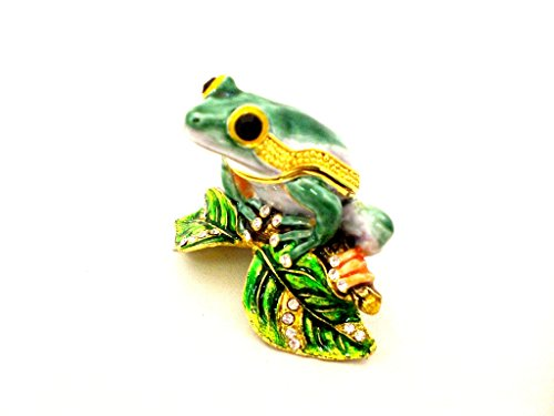 Frog On Lotus Leaf Trinket Box, Green Swarovski Crystal, Hand Painted Green Enamel Over Pewter, Inside of Box with Lovely Enamel, L 1.75 X H 1.75 X W 2.50