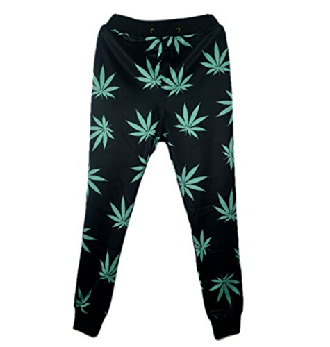 - Fashion Mens Joggers Pants 3D Graphic Printed Black Weed Leaf Sweatpants for Mens/Womens Hip Hop Style Trousers Photo Color M