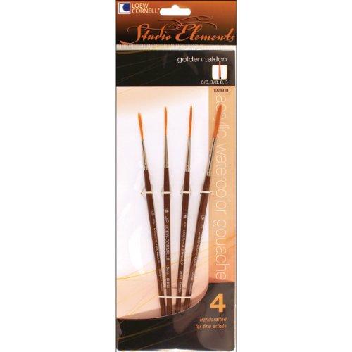 loew-cornell-1024910-studio-elements-short-handle-golden-taklon-script-liner-brush-set-4-piece