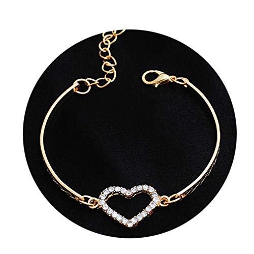 Romantic Love Heart Shaped Charm Bracelets Bangles Jewelry for Women Gold-Color Austrian Crystal Chain Bracelet Pulseras Gold-Color