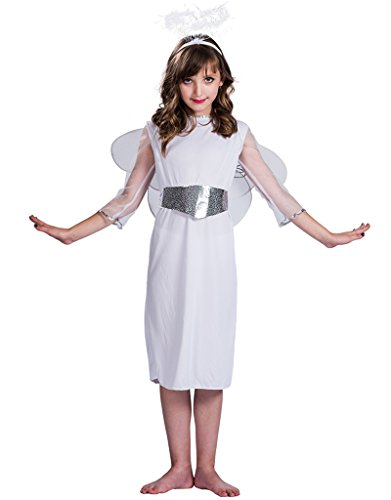 EraSpooky Girls Angel Costume Kit(White, Small) - White Angel Costumes Kit