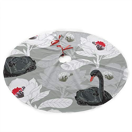 GUHurieir Fashion Black Swan White Flower Pattern Christmas Tree Skirt 35 Inches Rustic Xmas Holiday Ornaments Traditional Mat for Xmas Party Decoration