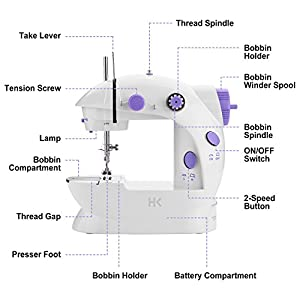 Fitnate Portable Sewing Machine with Double Speed Electric Crafting Sewing machine 2-Speed Double Thread with Light & Cutter, Foot Pedal for Household, Double Use for Power Supply or Battery from Fitnate