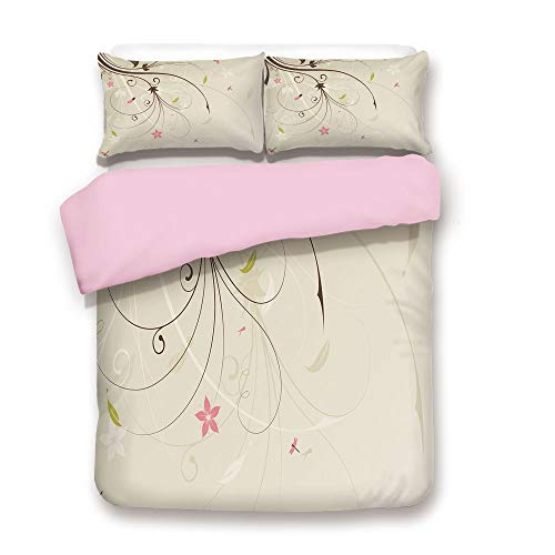 Pink Duvet Cover Set,Full Size,Spring Field Bouquet Shabby Chic Abstract Blossom Greenland Graphic Art Decorative,Decorative 3 Piece Bedding Set with 2 Pillow Sham,Best Gift for Girls Women,Tan Brown