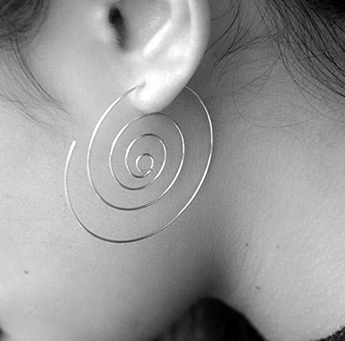 KUUCOL Bohemia Style Multi Layer Circle Earrings for Women Girls (Silver)