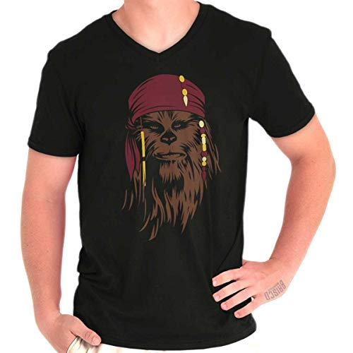 Brisco Brands Pirates Captain Space Ship Cute Adventure V-Neck T Shirt Black -