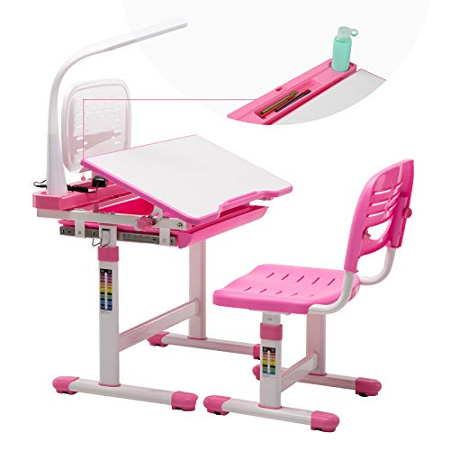 Mecor Kids Desks,Children Desk and Chair Set Height Adjustable,Childs School Student Sturdy Table w/Lamp, Pull Out Drawer Storage,Pencil Case,Bookstand Pink ()