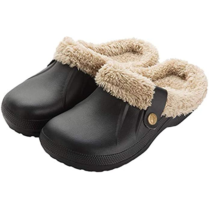 Women Men Fur Lined Clogs Winter Warm Fuzzy House Slippers Non-Slip Garden Shoes Indoor Outdoor Mules