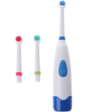 Lazder - Cepillo de dientes eléctrico (impermeable, giratorio, para niños, con 3
