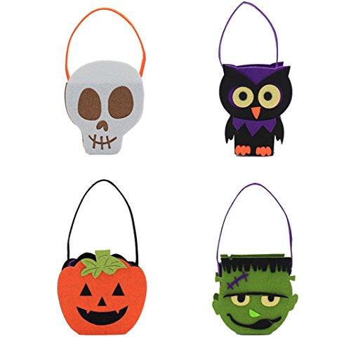 Halloween Pumpkin Bag Kids Candy Bucket Children Funny Candy Bag (4 (Apple Halloween Bucket)