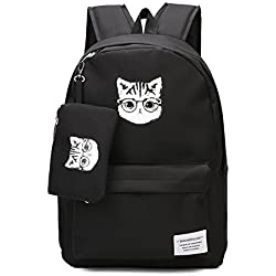 3b356566c43 Cat Backpack Cartoon Animal School Bag College Book Bag (Black)