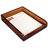 Dacasso Brown Crocodile Embossed Leather Letter Tray