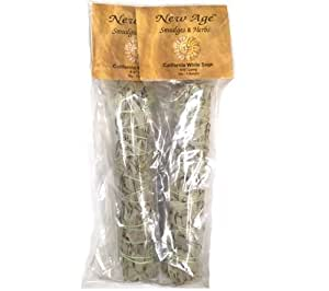 Large California White Sage, 2-Packs, Each Stick Approximately 8.5 Inches Long and 1.5 Inches Wide for Smudging Rituals, Meditation, Protection, Incense, Energy Clearing, Cleansing, 2-Packs Large Smudge Sticks