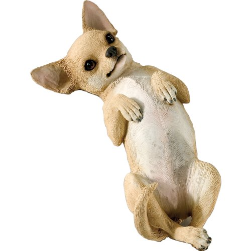 Sandicast Small Size Tan Chihuahua Sculpture, Lying Back