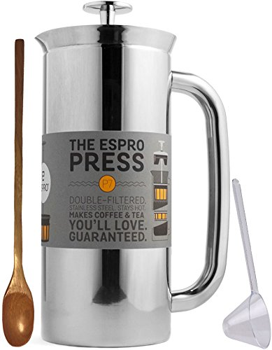 Espro Coffee Press P7-18 oz Double Wall Vacuum Insulated Polished Stainless Steel Coffee Press, Zonoz One-Tablespoon Plastic Clever Scoop & Zonoz 8.25-Inch Wooden Stirring Spoon Bundle by Espro (Image #9)