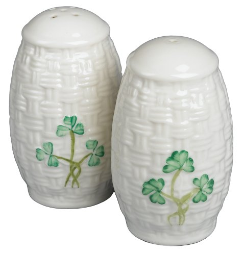 Belleek Shamrock Salt & Pepper Set