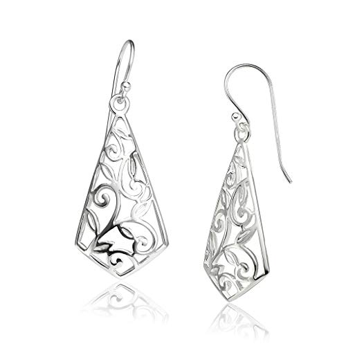 Big Apple Hoops - Genuine 925 Sterling Silver 'Beauty of Nature' Vine Leaf Filigree Teardrop Dangle Hook Earrings | Beautiful Polish Finish