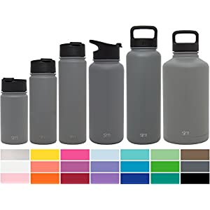 Simple Modern 64oz Summit Water Bottle + Extra Lid - Vacuum Insulated Stainless Steel Wide Mouth Hydro Travel Mug - Powder Coated Double-Walled Flask - Slate Gray