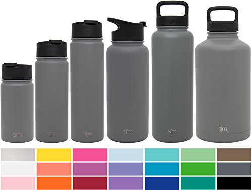 Simple Modern 64oz Summit Water Bottle + Extra Lid - Vacuum Insulated Stainless Steel Big Wide Mouth Hydro Travel Growler - Powder Coated Double-Walled Large Flask - Slate Gray