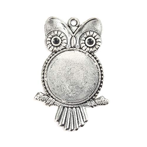 (Lanbeide 10Pcs Antique Silver Owl Shape Necklace Pendant Setting Cabochon Cameo Base Tray Bezel Blank Cat DIY Jewelry Findings, 25mm)
