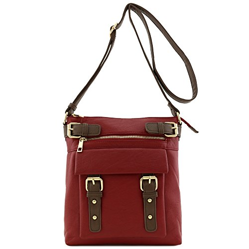 Burgundy with Accent Bag Crossbody Pocket Buckles Front Medium wz0aTF