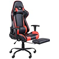 Teeker High Back Swivel Racing Office Gaming Chair with Footrest Tier (Red)