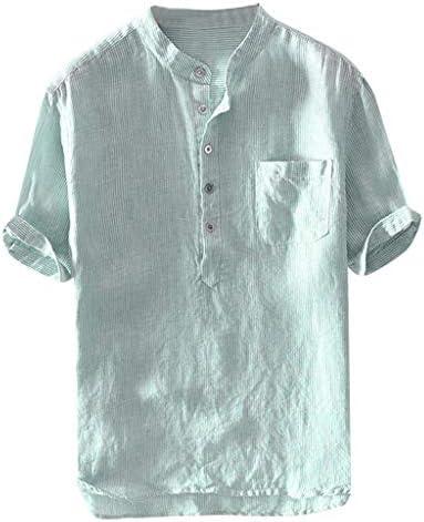 Men/'s Cotton Linen Short Sleeve Shirt Fashion Lapel Solid Color Buttoned Tops