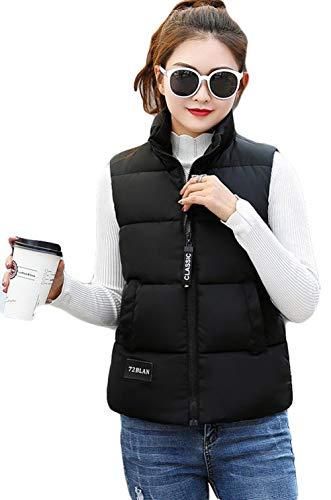 BSCOOLレディース 中綿ベスト ショート スリム 厚手 綿入れ ジャケット 袖なし ノースリーブ カジュアル 韓国ファッション アウター 防寒服 秋冬