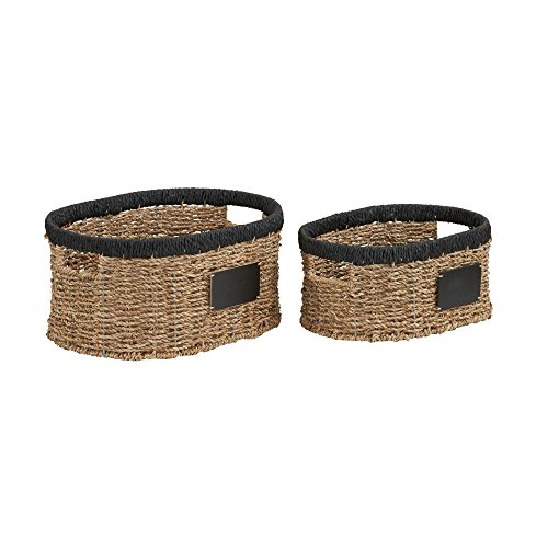 - Household Essentials Black Rim Wicker Oval Baskets Set Seagrass and Paper Rope (2 Piece) Small, Brown