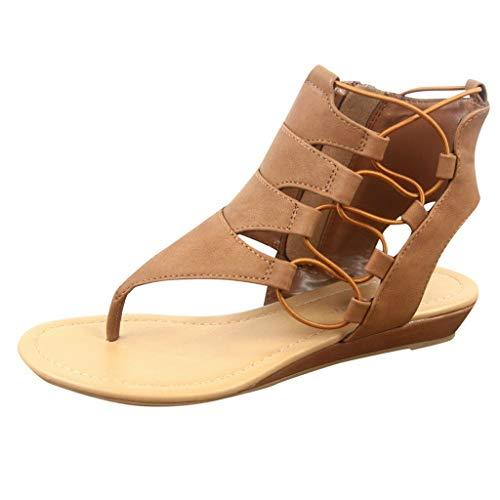 (Aunimeifly Ladies Roman Flat Sandals Clip Open Toe Zipper Shoes Elastic Hollow Women Low Wedge Sandal Brown )