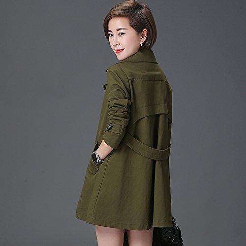 Mayihang caqui Casual chaqueta,abrigos de Mujer Largo y suelto Verde militar