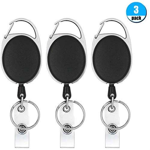 Belt Keychains - Retractable Badge Reel with Carabiner Belt Clip and Key Ring for ID Card Key Keychain Badge Holder Black 3 Pack by Foroffice