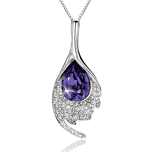 ASHE Purple Pendants Necklace Mermaid Shape Valentine's Day Jewelry Gift for Women Girls Birthday from Swarovski ()