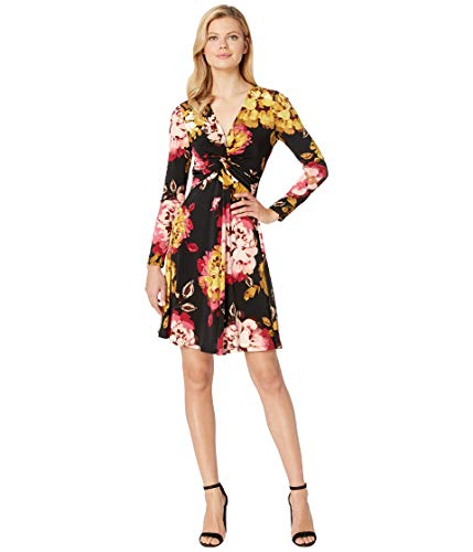 London Times Women's Long Sleeve Twist Front w/Flare Dress Black/Cherry 10