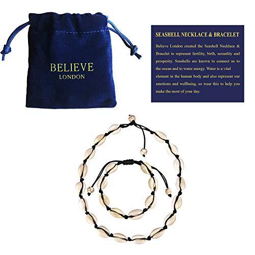 Believe London Shell Bracelet (Black Necklace & Bracelet Set)