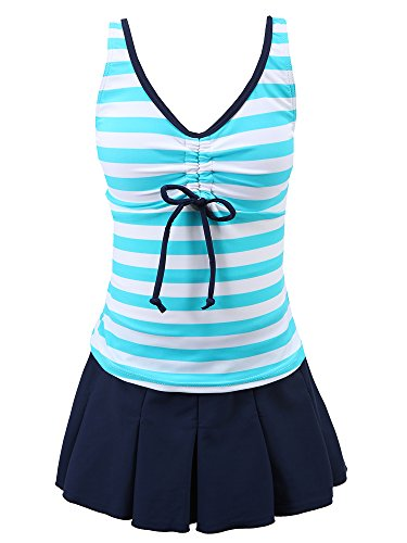 Chrysea Big Girls Kids Striped Swimsuit Pleated Skirt Swimwear (10-12, Light Blue)