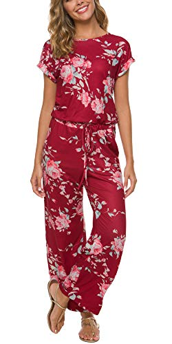 RichCoco Women's Floral Printed Jumpsuit Casual O Neck Loose Long Wide Legs Pants Jumpsuit Rompers with Pockets (WineRed, S)