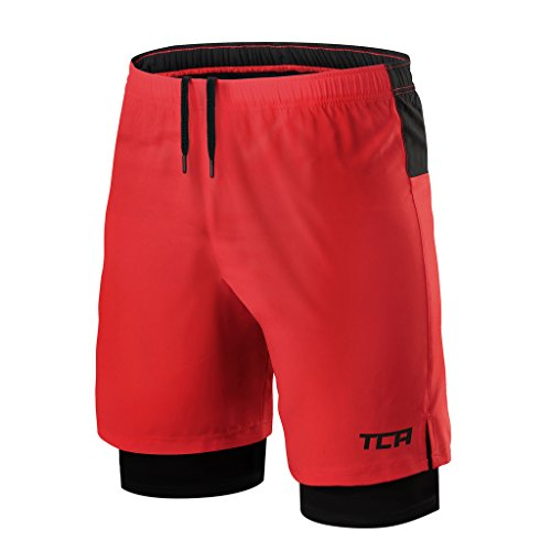 Ultra Compression Short (TCA Mens Ultra 2 in 1 Running Shorts with Inner Compression Short and Zip Pocket - High Risk Red / Black, XL)