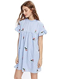 Women's Bow Tie Back Frill Sleeve Embroidered Striped Babydoll Dress