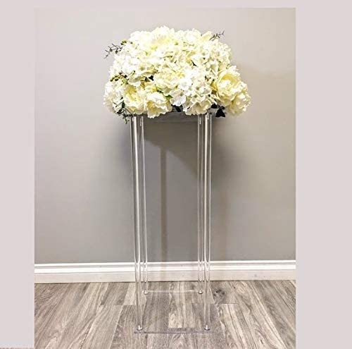 Everbon Set of 5 39.4 Inch Tall Square Clear Acrylic Crystal Chandelier Wedding Tabletop Flower Stand Holder Pillar Centerpiece Decorative Vase for Marriage Event