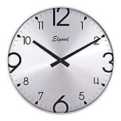 Elgood 14-inch Ultra-Thin Non-Ticking Mute Digital Wall Clock(Silver)