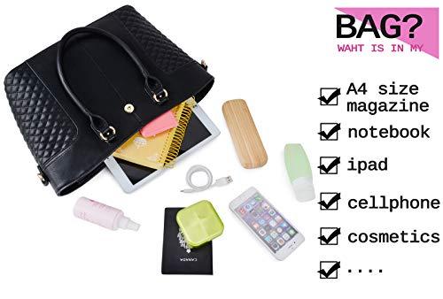 Fanspack Women's PU Leather Tote Bag Lattice Pattern Top Handle Tote Handbags Crossbody Shoulder Bag Purses and Handbags by Fanspack (Image #4)